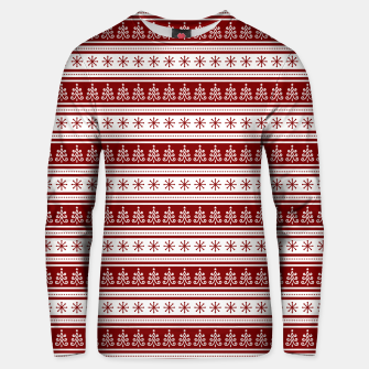 Dark Christmas Candy Apple Red Nordic Trees Stripe in White Unisex sweater imagen en miniatura