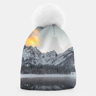Thumbnail image of Sunset clouds over mountains at Lake Fusine, Italy Beanie, Live Heroes