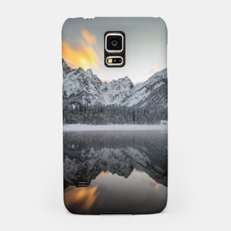 Thumbnail image of Sunset clouds over mountains at Lake Fusine, Italy Samsung Case, Live Heroes