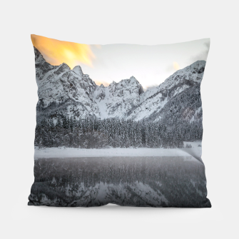 Thumbnail image of Sunset clouds over mountains at Lake Fusine, Italy Pillow, Live Heroes
