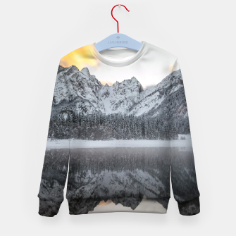 Thumbnail image of Sunset clouds over mountains at Lake Fusine, Italy Kid's sweater, Live Heroes