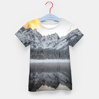 Thumbnail image of Sunset clouds over mountains at Lake Fusine, Italy Kid's t-shirt, Live Heroes