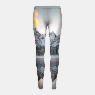 Thumbnail image of Sunset clouds over mountains at Lake Fusine, Italy Girl's leggings, Live Heroes