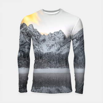 Thumbnail image of Sunset clouds over mountains at Lake Fusine, Italy Longsleeve rashguard , Live Heroes