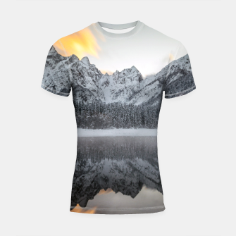 Thumbnail image of Sunset clouds over mountains at Lake Fusine, Italy Shortsleeve rashguard, Live Heroes