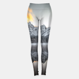 Thumbnail image of Sunset clouds over mountains at Lake Fusine, Italy Leggings, Live Heroes