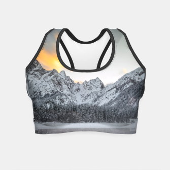 Thumbnail image of Sunset clouds over mountains at Lake Fusine, Italy Crop Top, Live Heroes
