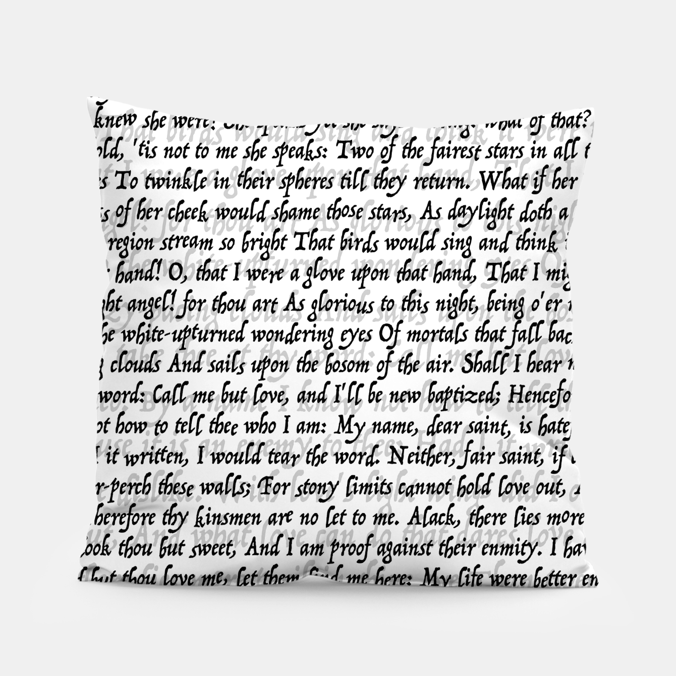Image of Love Letter Shakespeare Romeo & Juliet Pattern Pillow - Live Heroes