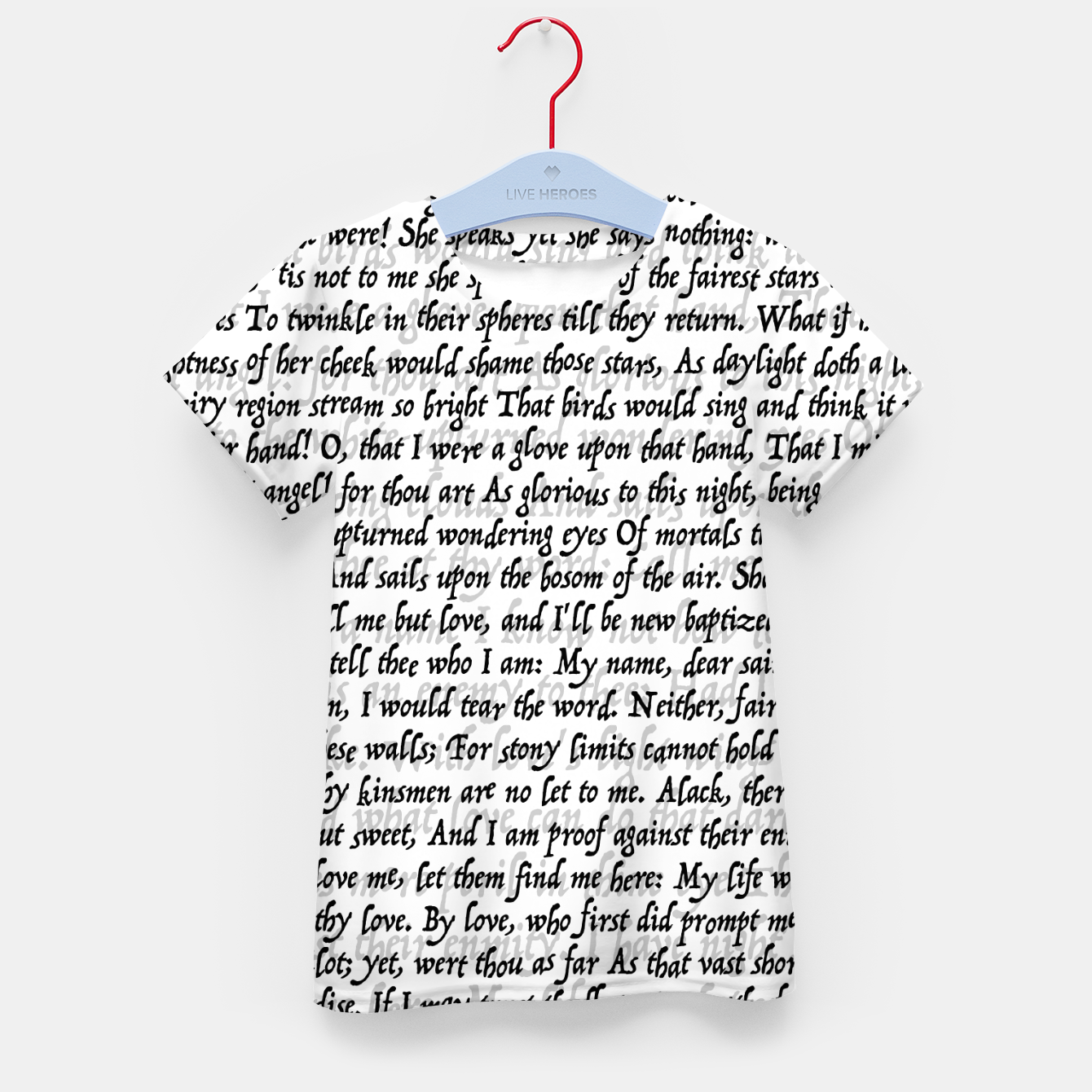 Foto Love Letter Shakespeare Romeo & Juliet Pattern Kid's t-shirt - Live Heroes