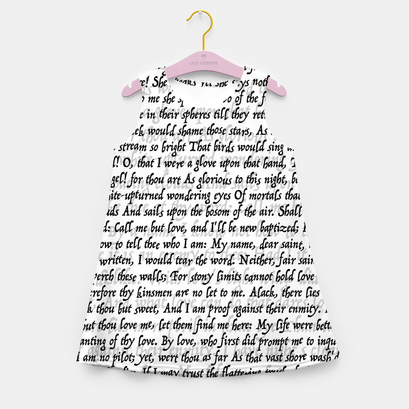 Image of Love Letter Shakespeare Romeo & Juliet Pattern Girl's summer dress - Live Heroes
