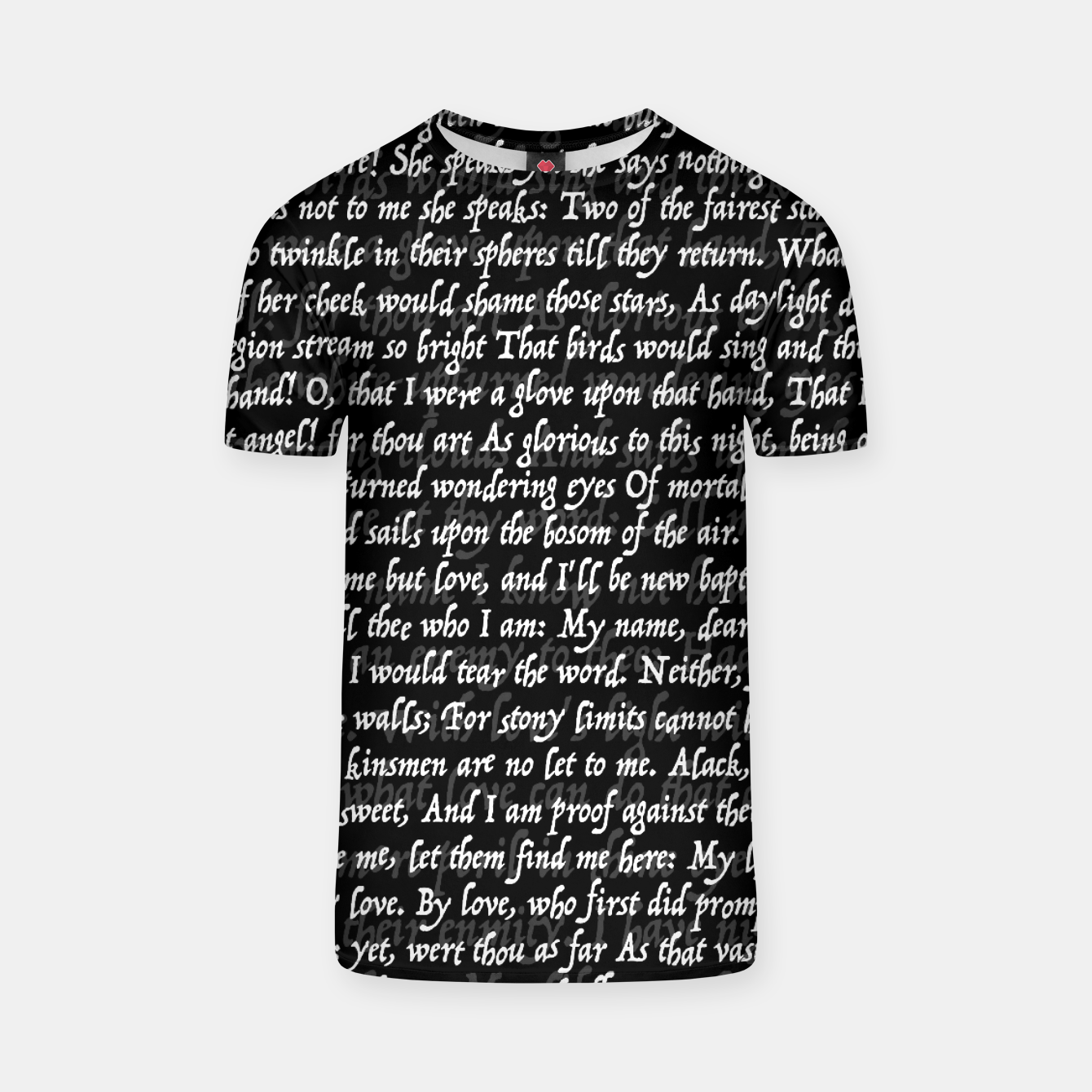 Image of Love Letter Shakespeare Romeo & Juliet Pattern II T-shirt - Live Heroes