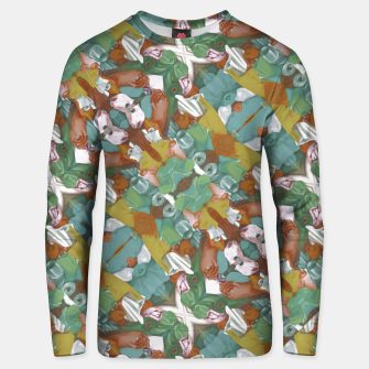 Thumbnail image of Collage motif abstract pattern mosaic in multicolored tones Unisex sweater, Live Heroes
