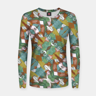 Thumbnail image of Collage motif abstract pattern mosaic in multicolored tones Women sweater, Live Heroes