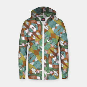 Thumbnail image of Collage motif abstract pattern mosaic in multicolored tones Zip up hoodie, Live Heroes