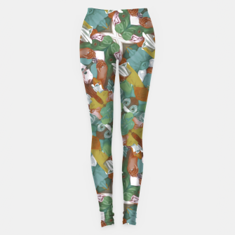 Thumbnail image of Collage motif abstract pattern mosaic in multicolored tones Leggings, Live Heroes