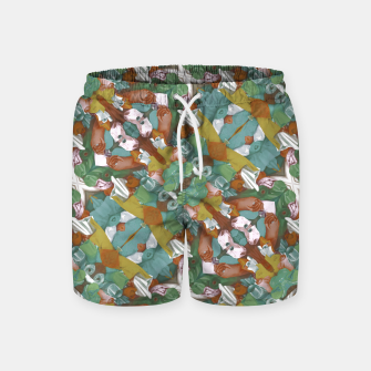 Thumbnail image of Collage motif abstract pattern mosaic in multicolored tones Swim Shorts, Live Heroes