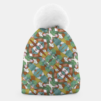 Thumbnail image of Collage motif abstract pattern mosaic in multicolored tones Beanie, Live Heroes