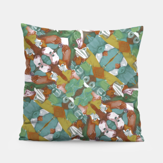 Thumbnail image of Collage motif abstract pattern mosaic in multicolored tones Pillow, Live Heroes