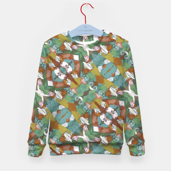 Thumbnail image of Collage motif abstract pattern mosaic in multicolored tones Kid's sweater, Live Heroes