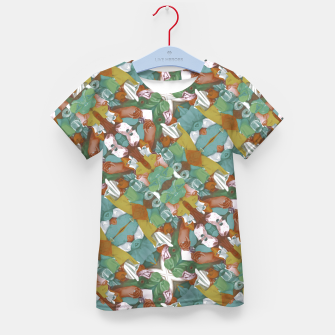 Thumbnail image of Collage motif abstract pattern mosaic in multicolored tones Kid's t-shirt, Live Heroes