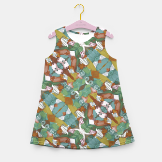 Thumbnail image of Collage motif abstract pattern mosaic in multicolored tones Girl's summer dress, Live Heroes