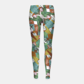 Thumbnail image of Collage motif abstract pattern mosaic in multicolored tones Girl's leggings, Live Heroes