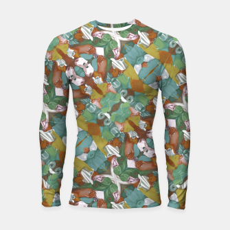 Thumbnail image of Collage motif abstract pattern mosaic in multicolored tones Longsleeve rashguard , Live Heroes