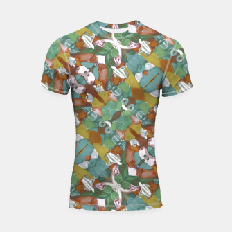 Thumbnail image of Collage motif abstract pattern mosaic in multicolored tones Shortsleeve rashguard, Live Heroes