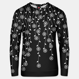 Thumbnail image of Hanging garden, floral design in black and white, nature print Unisex sweater, Live Heroes