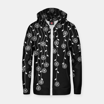 Thumbnail image of Hanging garden, floral design in black and white, nature print Zip up hoodie, Live Heroes