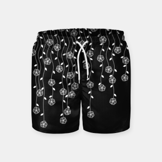 Thumbnail image of Hanging garden, floral design in black and white, nature print Swim Shorts, Live Heroes