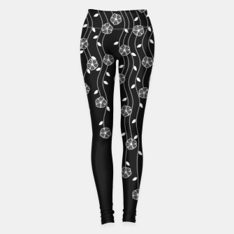 Thumbnail image of Hanging garden, floral design in black and white, nature print Leggings, Live Heroes
