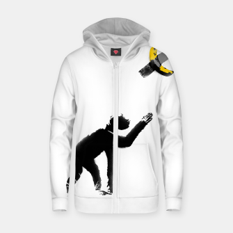Thumbnail image of Chimpanzee and Banana Taped Zip up hoodie, Live Heroes