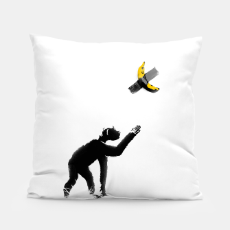 Thumbnail image of Chimpanzee and Banana Taped Pillow, Live Heroes