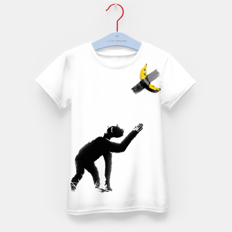 Thumbnail image of Chimpanzee and Banana Taped Kid's t-shirt, Live Heroes