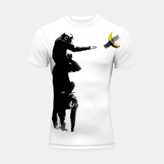 Thumbnail image of Chimpanzee and Banana Taped Shortsleeve rashguard, Live Heroes