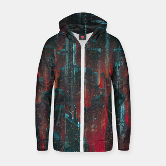 Thumbnail image of Cyberpunk Noir City Zip up hoodie, Live Heroes