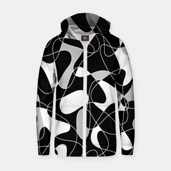 Thumbnail image of Abstract pattern - black, gray and white. Zip up hoodie, Live Heroes