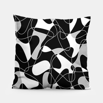 Abstract pattern - black, gray and white. Pillow thumbnail image