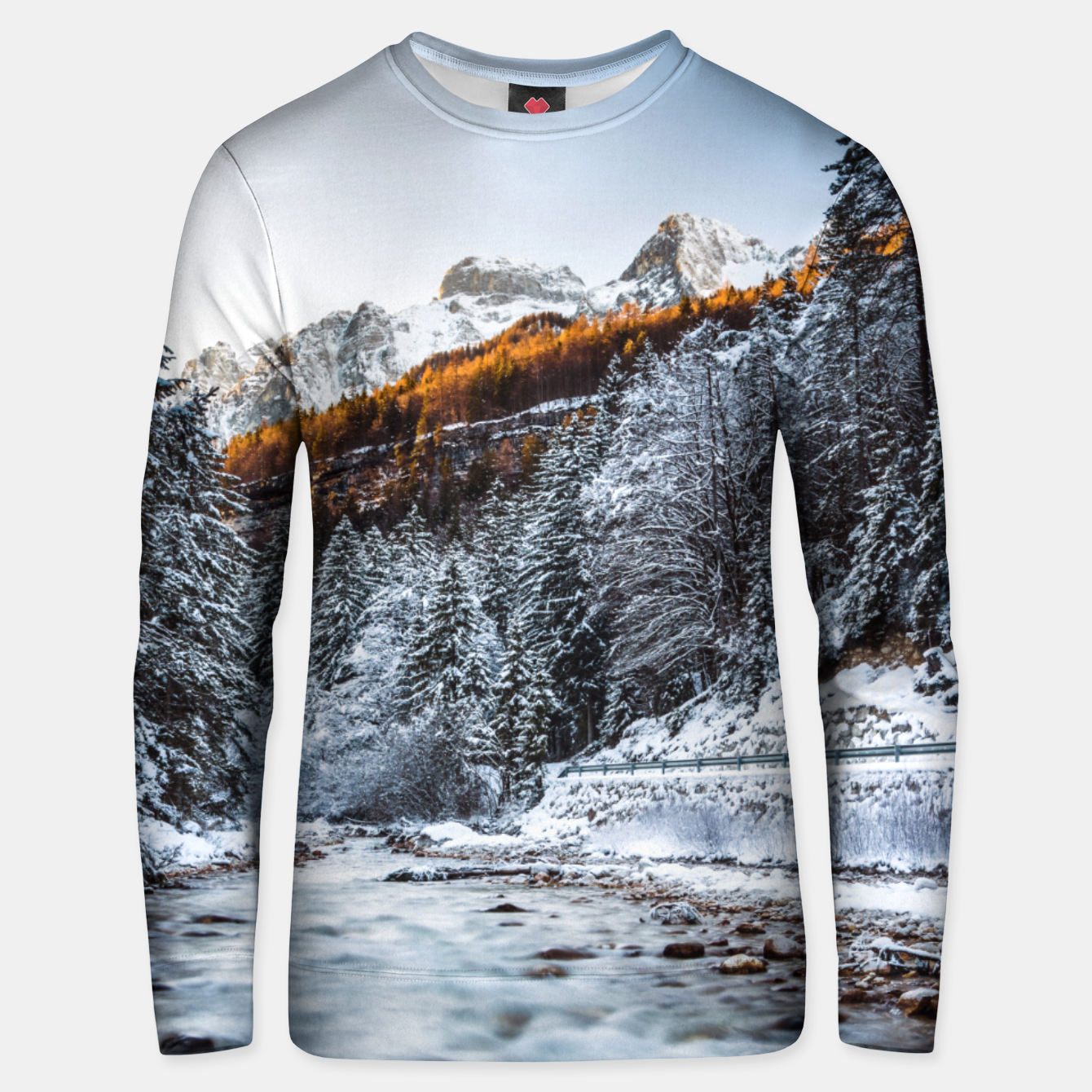 Image of Autumn and winter river, forest and mountains Unisex sweater - Live Heroes