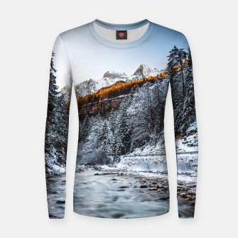 Autumn and winter river, forest and mountains Women sweater thumbnail image