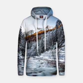 Autumn and winter river, forest and mountains Hoodie thumbnail image