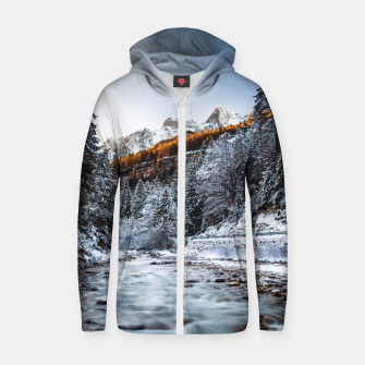 Thumbnail image of Autumn and winter river, forest and mountains Zip up hoodie, Live Heroes