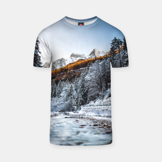 Autumn and winter river, forest and mountains T-shirt thumbnail image
