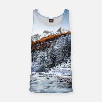 Autumn and winter river, forest and mountains Tank Top thumbnail image