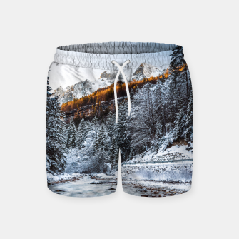 Autumn and winter river, forest and mountains Swim Shorts thumbnail image