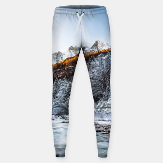Autumn and winter river, forest and mountains Sweatpants thumbnail image