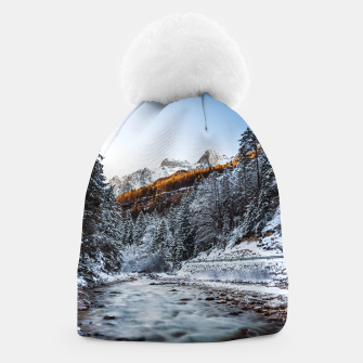 Autumn and winter river, forest and mountains Beanie thumbnail image