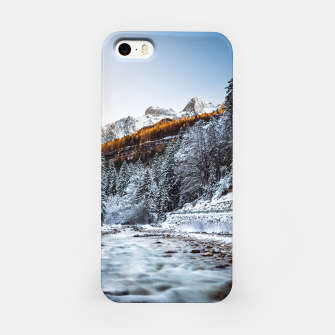 Autumn and winter river, forest and mountains iPhone Case thumbnail image