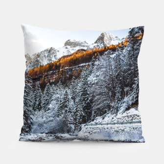 Autumn and winter river, forest and mountains Pillow thumbnail image